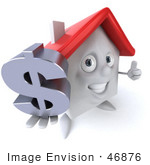 #46876 Royalty-Free (Rf) Illustration Of A 3d White Clay House Mascot Holding A Dollar Symbol - Version 3