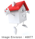 #46877 Royalty-Free (Rf) Illustration Of A 3d White Clay House Mascot Jumping - Version 2