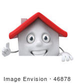#46878 Royalty-Free (Rf) Illustration Of A 3d White Clay House Mascot Giving The Thumbs Up And Standing Behind A Blank Sign