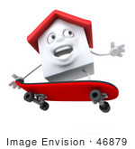 #46879 Royalty-Free (Rf) Illustration Of A 3d White Clay House Mascot Skateboarding - Version 2