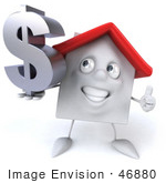 #46880 Royalty-Free (Rf) Illustration Of A 3d White Clay House Mascot Holding A Dollar Symbol - Version 4