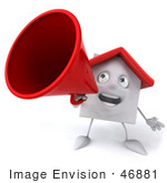 #46881 Royalty-Free (Rf) Illustration Of A 3d White Clay House Mascot Using A Megaphone - Version 1