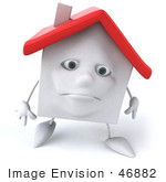 #46882 Royalty-Free (Rf) Illustration Of A Sad 3d White Clay House Mascot Walking Forward
