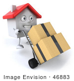 #46883 Royalty-Free (Rf) Illustration Of A 3d White Clay House Mascot Moving Boxes On A Dolly - Version 1