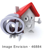 #46884 Royalty-Free (Rf) Illustration Of A 3d White Clay House Mascot Holding An At Symbol - Version 2