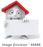 #46886 Royalty-Free (Rf) Illustration Of A 3d White Clay House Mascot Holding A Blank Business Card - Version 1