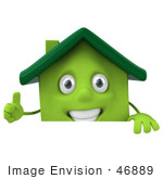 #46889 Royalty-Free (Rf) Illustration Of A 3d Green Clay House Mascot Giving The Thumbs Up And Standing Behind A Blank Sign