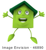 #46890 Royalty-Free (Rf) Illustration Of A 3d Green Clay House Mascot Jumping - Version 1