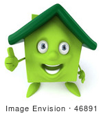 #46891 Royalty-Free (Rf) Illustration Of A 3d Green Clay House Mascot Giving The Thumbs Up