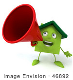 #46892 Royalty-Free (Rf) Illustration Of A 3d Green Clay House Mascot Using A Megaphone - Version 1