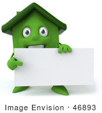 #46893 Royalty-Free (Rf) Illustration Of A 3d Green Clay House Mascot Holding A Blank Business Card
