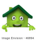 #46894 Royalty-Free (Rf) Illustration Of A 3d Green Clay House Mascot Pointing Down And Standing Behind A Blank Sign