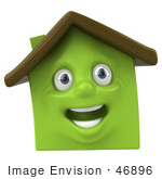 #46896 Royalty-Free (Rf) Illustration Of A 3d Green Clay House Mascot Smiling - Version 3