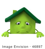 #46897 Royalty-Free (Rf) Illustration Of A 3d Green Clay House Mascot Standing Behind A Blank Sign