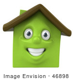 #46898 Royalty-Free (Rf) Illustration Of A 3d Green Clay House Mascot Smiling - Version 1