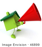 #46899 Royalty-Free (Rf) Illustration Of A 3d Green Clay House Mascot Using A Megaphone - Version 2