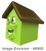 #46900 Royalty-Free (Rf) Illustration Of A 3d Green Clay House Mascot Smiling - Version 4