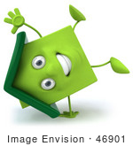 #46901 Royalty-Free (Rf) Illustration Of A 3d Green Clay House Mascot Doing A Cartwheel
