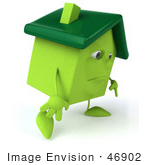 #46902 Royalty-Free (Rf) Illustration Of A 3d Green Clay House Mascot Slouching