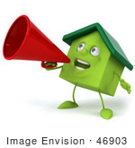#46903 Royalty-Free (Rf) Illustration Of A 3d Green Clay House Mascot Using A Megaphone - Version 3