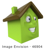 #46904 Royalty-Free (Rf) Illustration Of A 3d Green Clay House Mascot Smiling - Version 2