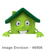 #46906 Royalty-Free (Rf) Illustration Of A 3d Green Clay House Mascot Standing Behind A Sign Board