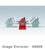 #46908 Royalty-Free (Rf) Illustration Of A 3d Red House With A Sold Slab On The Front - Version 3