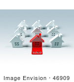 #46909 Royalty-Free (Rf) Illustration Of A 3d Red House With A Sold Slab On The Front - Version 1