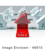 #46910 Royalty-Free (Rf) Illustration Of A 3d Red House With A For Sale Slab On The Front - Version 1