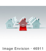 #46911 Royalty-Free (Rf) Illustration Of A 3d Red House With A For Sale Slab On The Front - Version 2