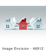 #46912 Royalty-Free (Rf) Illustration Of A 3d Red Metal Home Standing Out In A Neighborhood Of White Houses - Version 2