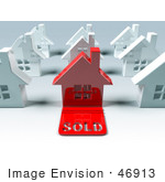 #46913 Royalty-Free (Rf) Illustration Of A 3d Red House With A Sold Slab On The Front - Version 2
