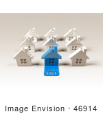 #46914 Royalty-Free (Rf) Illustration Of A 3d Blue House With A For Sale Slab On The Front