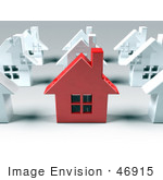 #46915 Royalty-Free (Rf) Illustration Of A 3d Red Metal Home Standing Out In A Neighborhood Of White Houses - Version 1
