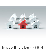 #46916 Royalty-Free (Rf) Illustration Of A 3d Red Metal Home Standing Out In A Neighborhood Of White Houses - Version 3