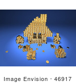 #46917 Royalty-Free (Rf) Illustration Of A 3d House Made Of Golden Coin Stacks - Version 3