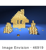 #46919 Royalty-Free (Rf) Illustration Of A 3d House Made Of Golden Coin Stacks - Version 4