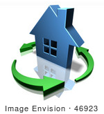 #46923 Royalty-Free (Rf) Illustration Of A 3d Blue House Surrounded By Circling Green Arrows - Version 2