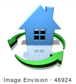 #46924 Royalty-Free (Rf) Illustration Of A 3d Blue House Surrounded By Circling Green Arrows - Version 3