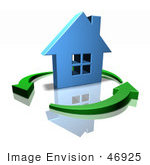 #46925 Royalty-Free (Rf) Illustration Of A 3d Blue House Surrounded By Circling Green Arrows - Version 1