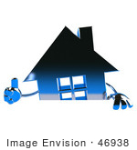#46938 Royalty-Free (Rf) Illustration Of A 3d Blue Chrome House Mascot Giving The Thumbs Up And Standing Behind A Blank Sign