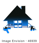 #46939 Royalty-Free (Rf) Illustration Of A 3d Blue Chrome House Mascot Pointing Down And Standing Behind A Blank Sign