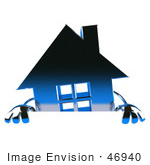 #46940 Royalty-Free (Rf) Illustration Of A 3d Blue Chrome House Mascot Standing Behind A Blank Sign