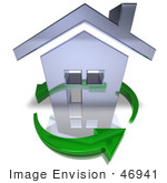 #46941 Royalty-Free (Rf) Illustration Of A 3d Chrome House Being Circled By Green Arrows - Version 6