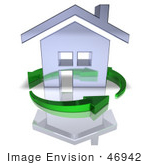 #46942 Royalty-Free (Rf) Illustration Of A 3d Chrome House Being Circled By Green Arrows - Version 5
