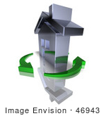 #46943 Royalty-Free (Rf) Illustration Of A 3d Chrome House Being Circled By Green Arrows - Version 8