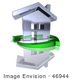 #46944 Royalty-Free (Rf) Illustration Of A 3d Chrome House Being Circled By Green Arrows - Version 7