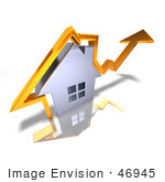 #46945 Royalty-Free (Rf) Illustration Of A 3d Chrome House With An Orange Arrow Going Over The Top - Version 2