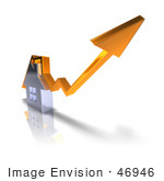 #46946 Royalty-Free (Rf) Illustration Of A 3d Chrome House With An Orange Arrow Going Over The Top - Version 1
