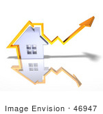 #46947 Royalty-Free (Rf) Illustration Of A 3d Chrome House With An Orange Arrow Going Over The Top - Version 3